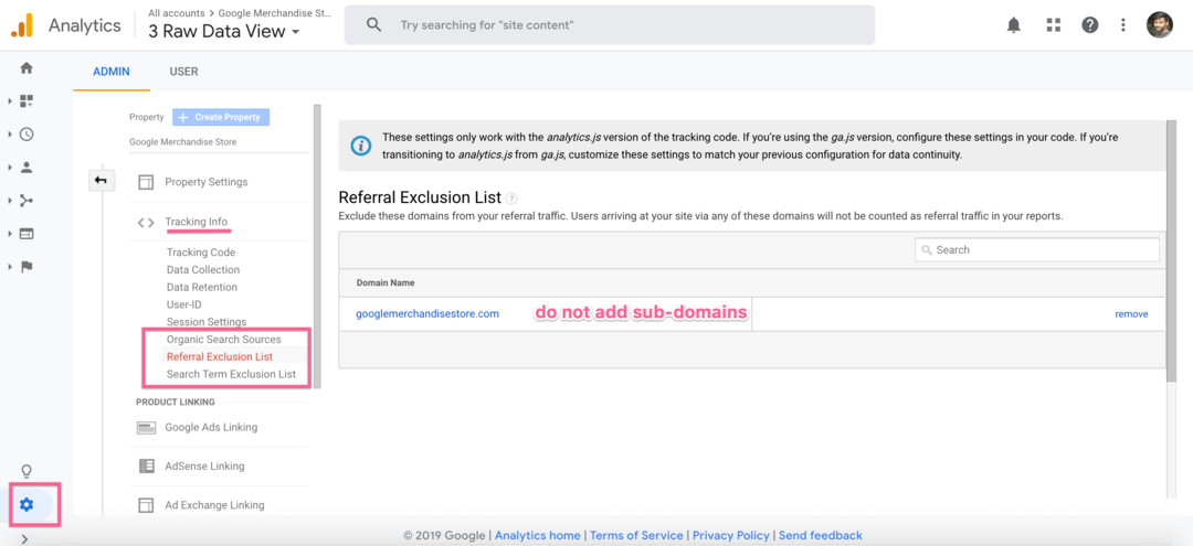 Google Analytics Referral Exclusion List