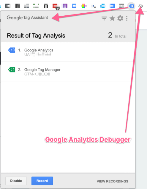 google chrome - tag assistant and debugger