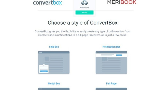 Meribook v5.11.0 update: Use Convertbox popups to build your list in Meribook