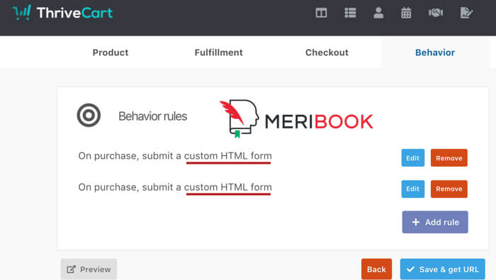 Meribook ThriveCart HTML Integration